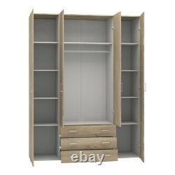 Space Large Wide Modern Wardrobe Storage Unit 4 Portes 3 Tiroirs En Blanc