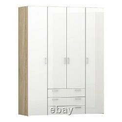 Space Large Wide Modern Wardrobe Unit 4 Portes 3 Tiroirs Oak & White High Gloss