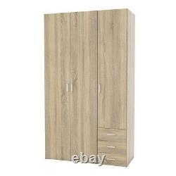 Space Tall Large Wide Modern Wardrobe Storage Unit 3 Portes 3 Tiroirs Sonoma Oak