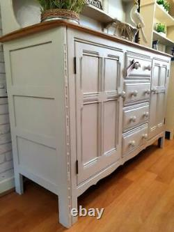 Superbe Grand Ercol Welsh Dresser Buffet Armoire Armoire Shabby Chic Gris