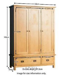 Surrey Oak Triple Wardrobe With Drawers Large 3 Door Solid Wooden Waxed Rustic