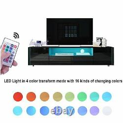 Tv Unit Cabinet Grand Rangement Buffet En Bois Table Latérale Led Light High Gloss Set