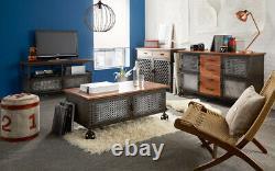 Urban Industrial Reclaimed Metal And Solid Wood 3 Tiroir 2 Grande Porte Buffet