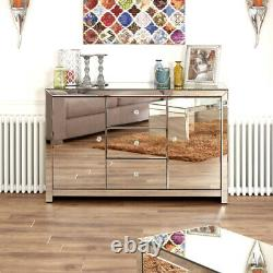 Venetian Mirrored Large Sideboard 3 Tiroirs Armoire 2 Portes Armoire Tfm6