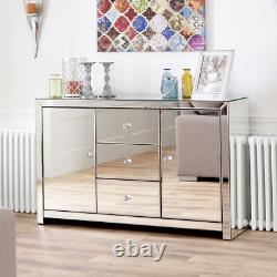 Venetian Mirrored Large Sideboard Living Dining 2 Armoire À Porte 3 Tiroirs Tfm6