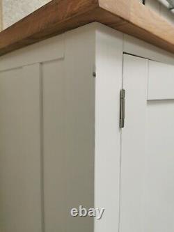 White Peint Grand Double 2 Porte/ 4 Tiroir Larder Pantry Food Cupboard